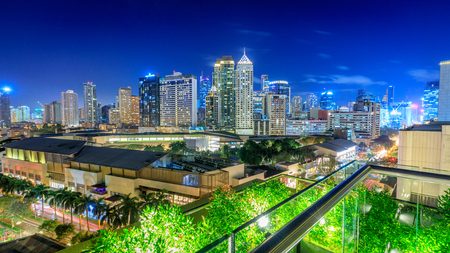 Manila, Philippines - Feb 24, 2018 : Eleveted, night view of Makati, the business district of Metro Manila, Philippines
