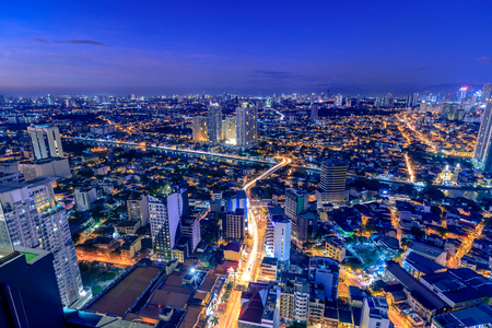 Manila, Philippines - Feb 25, 2018 : Night view of Mandaluyong, View from Makati in Metro Manila, Philippines Editorial