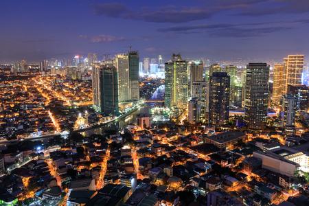 Manila, Philippines - Feb 25, 2018 : Eleveted, Night view of Rockwell, View from P Burgos Makati in Metro Manila, Philippines Editorial