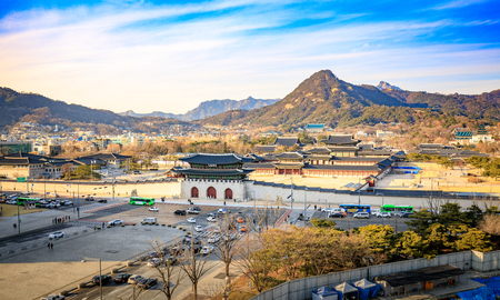Aerial view of Gyeongbok palace and the Blue House in Seoul city, South Korea Stock Photo