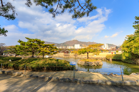 The Garden at Surowangneung, Tomb of King Suro, which is a heritage preservation place in Gimhae city Stock Photo