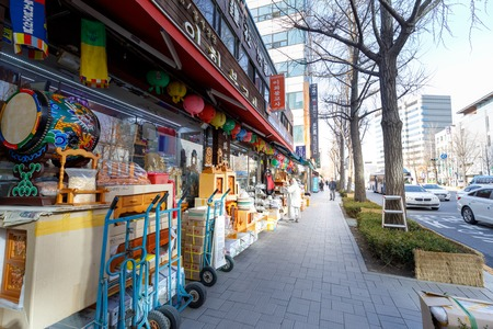 Seoul, South Korea - March 6, 2018 : The shop of Buddhist in front of Jogyesa temple in Seoul city