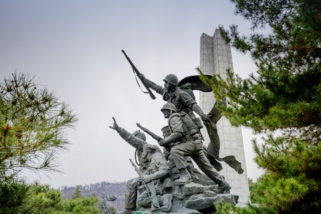 Seoul, South Korea - March 19, 2018 : Memorial statue at Seoul National Cemetery in Dongjak-gu, Seoul, South Korea