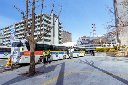 Seoul, South Korea - March 6, 2018 : Police bus in front of Embassy of the United States, Seoul city