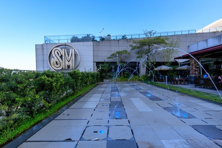 Manila, Philippines - Feb 24, 2018 : The Logo at SM Aura Premier building, Shopping mall in Taguig, Philippines