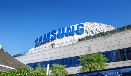 Manila, Philippines - Feb 24, 2018 : Samsung logo at SM Aura Premier building, Shopping mall in Taguig, Philippines