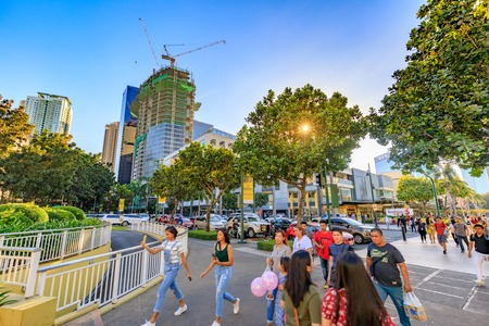 Manila, Philippines - Feb 24, 2018 : Scenery of Bonifacio High street, which is the Famous shopping street