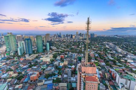 Manila, Philippines - Feb 24, 2018 : Manila Skyline. Night view of Makati, the business district of Metro Manila