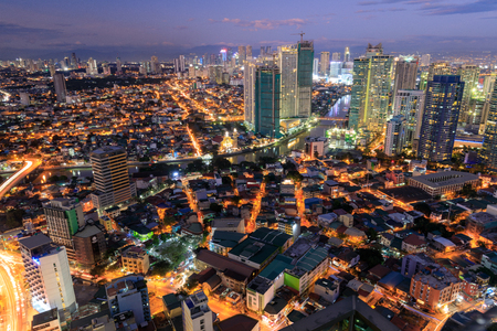 Manila, Philippines - Feb 24, 2018 : Manila Skyline. Night view of Makati, the business district of Metro Manila