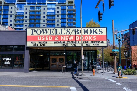 Portland, Oregon, USA - April 19, 2018: Facade of Powells Books, which is the Worlds Largest Independent Bookstore