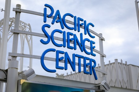 Seattle, Washington - April 9, 2018 : Sign of Pacific Science Center in Seattle Editorial