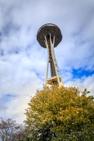 Seattle, Washington - April 9, 2018 : Seattle Space Needle Under Remodeling Construction, which is an observation tower built for the 1962 World Fair