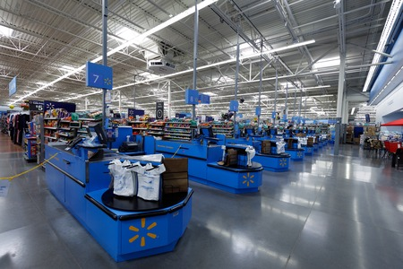 Portland, Oregon, USA - April 9, 2018 : Walmart store interior. is an American multinational corporation that runs large discount stores and is the worlds largest public corporation.