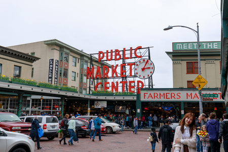 Seattle, Washington - April 9, 2018 : The Public Market Center also known worldwide as Pike Place Market, Seattle landmark Редакционное