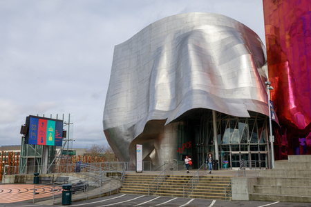 Seattle, Washington - April 9, 2018 : The Museum of Pop Culture (MoPOP), formerly called the Experience Music Project, near the Seattle Space Needle. Editorial