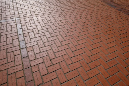 Portland, Oregon, USA - April 20, 2018 : Floor red bricks with engraving names at Pioneer Courthouse Square in Portland Editorial