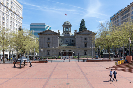 Portland, Oregon, USA - April 24, 2018 : Scenery of Pioneer Courthouse in Portland Pioneer Square