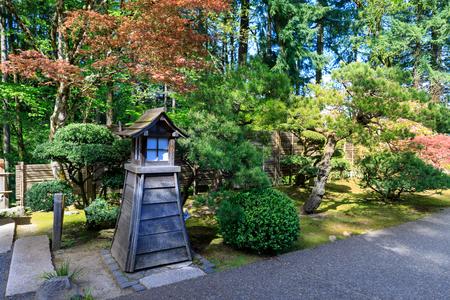 Beautiful Japanese Garden In Portland Oregon USA Stock Photo ...