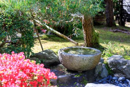 Portland, Oregon, USA - April 26, 2018 : Beautiful Japanese Garden in Portland at spring season