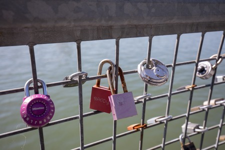 Portland, Oregon, USA - April 27, 2018 : Love locks in Portland Willamette river