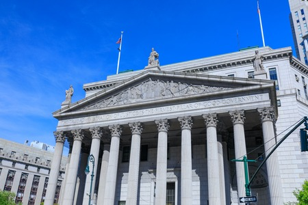 Manhattan, New York City - May 10, 2018 : New York State Supreme Court Building, originally known as New York County Courthouse, at 60 Centre Street on Foley Square in Civic Center district of Manhattan, NYC