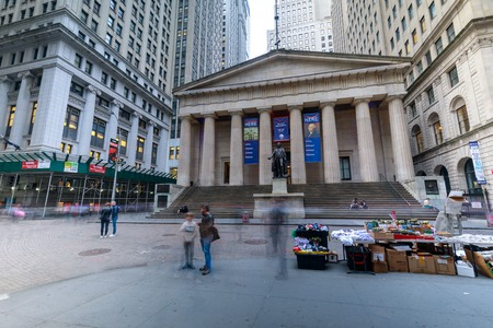 Manhattan, New York City - May 10, 2018 : Facade of the Federal Hall with Washington Statue on the front, wall street, Manhattan, New York City
