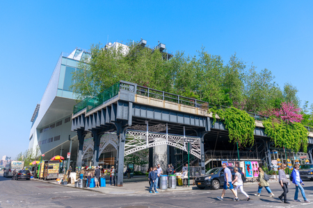 Manhattan, New York City - June 14, 2017 : Scenery of the HIgh Line. Urban public park on an historic freight rail line, New York City, Manhattan.
