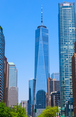 New York, USA - May 9, 2018 : One World Trade Center and buildings, view from Battery park, NYC