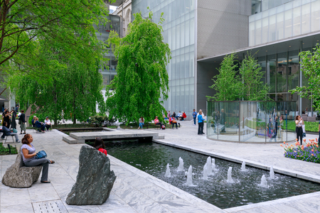 New York, USA - May 12, 2018 : The main garden of MoMA, Museum of Modern Art in Manhattan, NYC Editorial