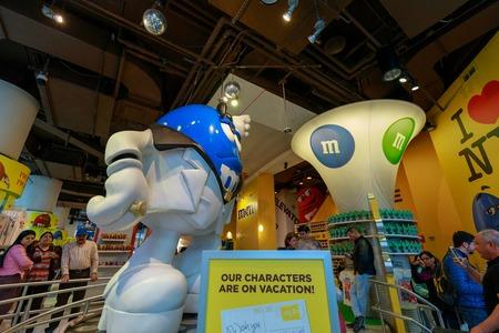New York, USA - May 12, 2018 : Inside the M&Ms World at Times Square, NYC Sajtókép