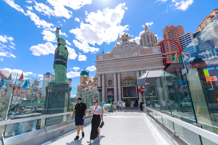 Las Vegas, Nevada - May 28, 2018 : New York-New York Hotel & Casino in Las Vegas. This hotel simulates the real New York City skyline