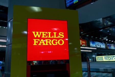 Las Vegas, Nevada - May 26, 2018 : Wells Fargo sign at McCarran International Airport in Las Vegas