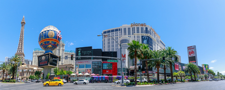 Las Vegas, Nevada - May 27, 2018 : Las Vegas Strip in front of the famous Hotel Paris and Hotel Planet Hollywood in Las Vegas, Nevada