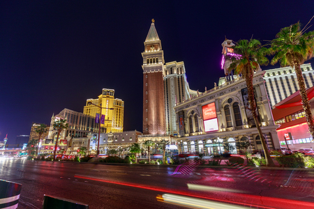 Las Vegas, Nevada - May 27, 2018 : Venetian Resort Hotel Casino, South Las Vegas Boulevard at night