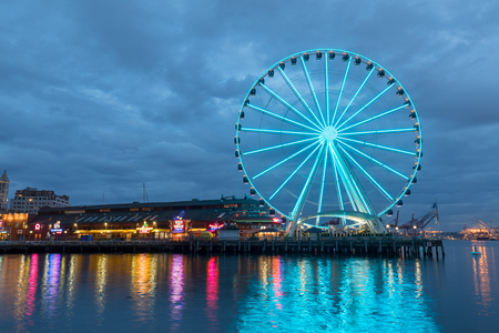 Seattle, Washington - June 30, 2018 : Seattle skyline, waterfront and great wheel Editorial