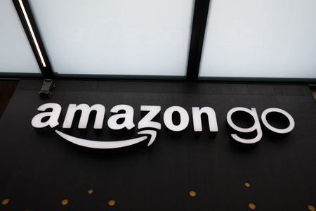 Seattle, Washington - June 30, 2018 : Close up on the Amazon Go store sign at the downtown Seattle Amazon headquarters