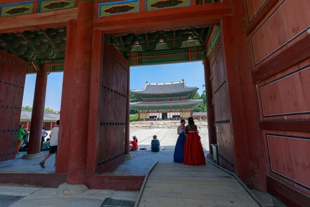 Seoul, South Korea - July 21, 2018 : Injeongjeon the main hall of Changdeokgung. It is a palace built as a secondary palace of the Joseon dynasty in 1405, during King Taejongs reign.