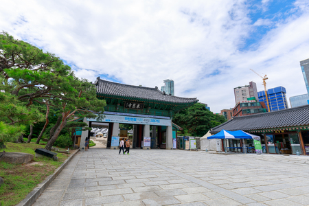 Seoul, South Korea - July 3, 2018 : Bongeunsa temple scene in Gangnam district, Seoul city