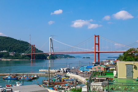 Namhae, South Korea - July 29, 2018 : Namhae Bridge, Suspension bridge in Namhae County, South Gyeongsang Province, Korea Editoriali