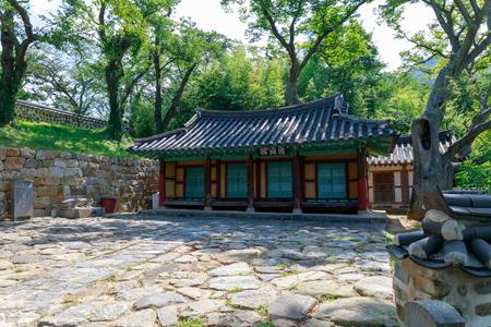 Namhae, South Korea - July 29, 2018 : Chungnyeolsa shrine in Namhae County, South Gyeongsang Province