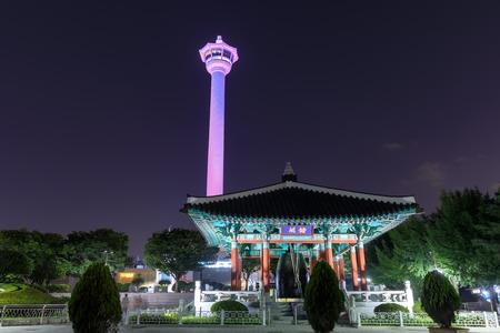 Busan, South Korea - Aug 4, 2018 : Busan city skyline at Yongdusan Park and Busan Tower, Busan, South Korea (Korean text = Yongdusan the name of parvillion) Editorial