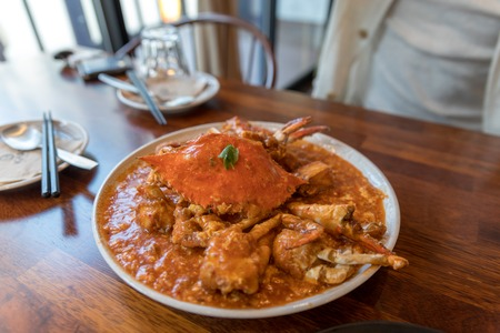 Serving of Chili Crab, One of the signature dish of Singapore 스톡 콘텐츠