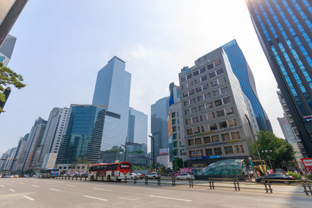 Seoul, South Korea - Jul 21, 2018 : Sightseeing around Gangnam Station with skyscrapers in Seoul city