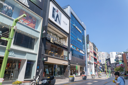 Busan, South Korea - Aug 5, 2018 : Commercial buildings and streetscape around Nampo-dong, BIFF street in Busan city