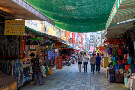 Busan, South Korea - Aug 5, 2018 : View of Gukje Market or Nampodong International Market in Jung District, Busan city, South Korea Editorial