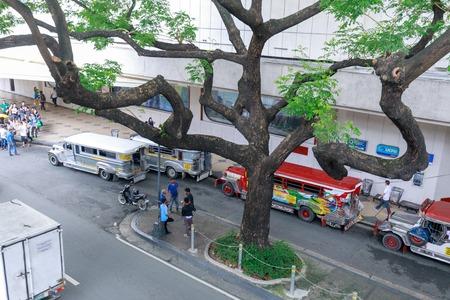Manila, Philippines - Jul 14, 2018 : Jeepney, Philippines public transportation near Greenbelt shopping mall in Metro Manila