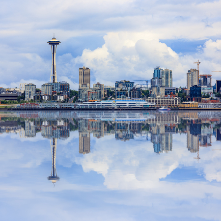 Seattle Skyline, cloudy day, square ratio Editorial