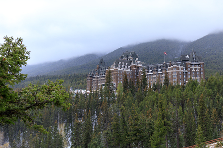 Alberta, Canada - October 7, 2018 : Banff Fairmont Springs Hotel in the Canadian Rockies, Banff National Park