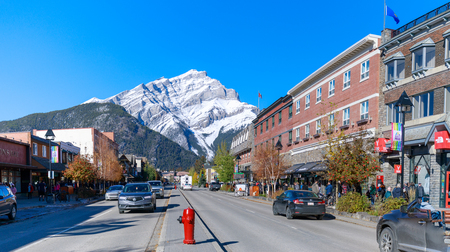Alberta, Canada - October 7, 2018 : Downtown Banff with Cascade Mountain at Banff National Park