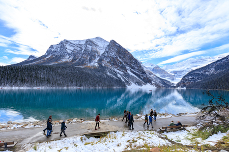 Alberta, Canada - October 7, 2018 : Lake Louise with rocky mountain in Banff national park